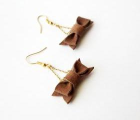 Bow earrings, leather bow earing, cute earrings, dangle earrings, chain earrings, pick your color