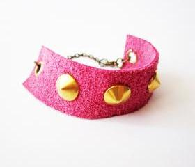 Leather spike bracelet, pink leather gold spikes cuff, gold stud pink cuff, girly punk bracelet, neon pink jewelry