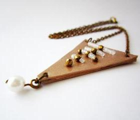 Tribal necklace, triangle leather necklace, geometric jewelry, champagne leather necklace, bronze crystal necklace, white pearl necklace
