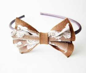 Bow headband, lace leather bow, brown headband, leather and lace hair accessory, romantic accessory
