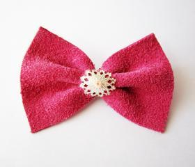Pink leather bow brooch, pink bow pin, snowflake silver bow brooch, leather pin, leather bow pin, girly brooch