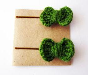Crochet bow bobby pins, bow hair pin, cute hair accessories for girls and kids, pick your color