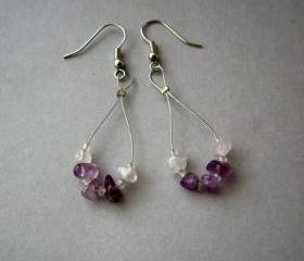 Purple amethyst hoop dangle earrings, pink amethyst earrings, pink quartz earrings. Ready to ship
