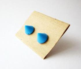 Blue spike stud earrings - Small blue cute cone post earrings - Summer trend earing studs - FREE SHIPPING